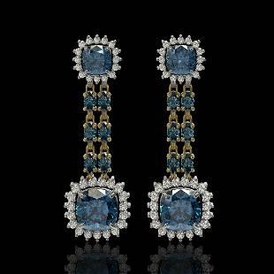 20.04 ctw London Topaz & Diamond Earrings 14K Yellow