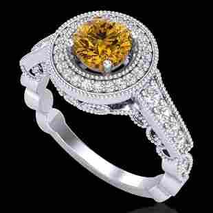 1.12 ctw Intense Fancy Yellow Diamond Art Deco Ring 18k