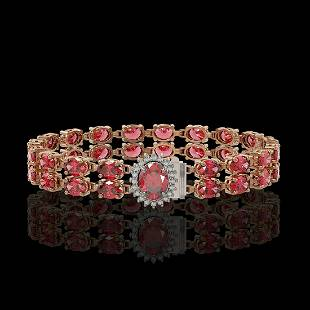 26.92 ctw Tourmaline & Diamond Bracelet 14K Rose Gold -