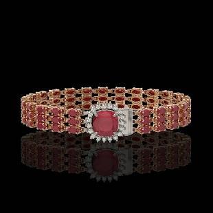 31.91 ctw Ruby & Diamond Bracelet 14K Rose Gold -