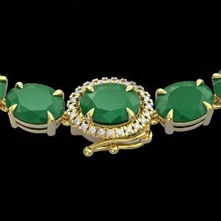 92 ctw Emerald & VS/SI Diamond Micro Pave Necklace 14k
