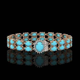13.14 ctw Turquoise & Diamond Bracelet 14K Rose Gold -