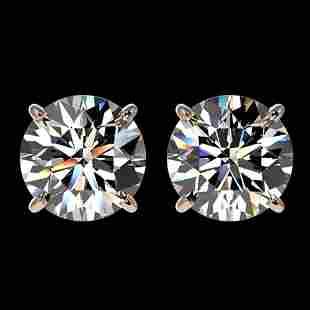 3.05 ctw Certified Diamond Stud Earrings 10k Rose Gold