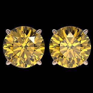 4 ctw Certified Intense Yellow Diamond Stud Earrings