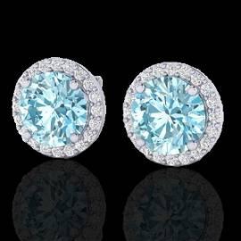 4 ctw Sky Blue Topaz & Halo VS/SI Diamond Micro