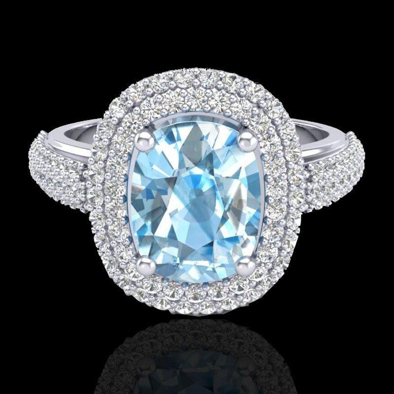 Genuine 3.50 CTW Topaz & Micro Pave Diamond Certified