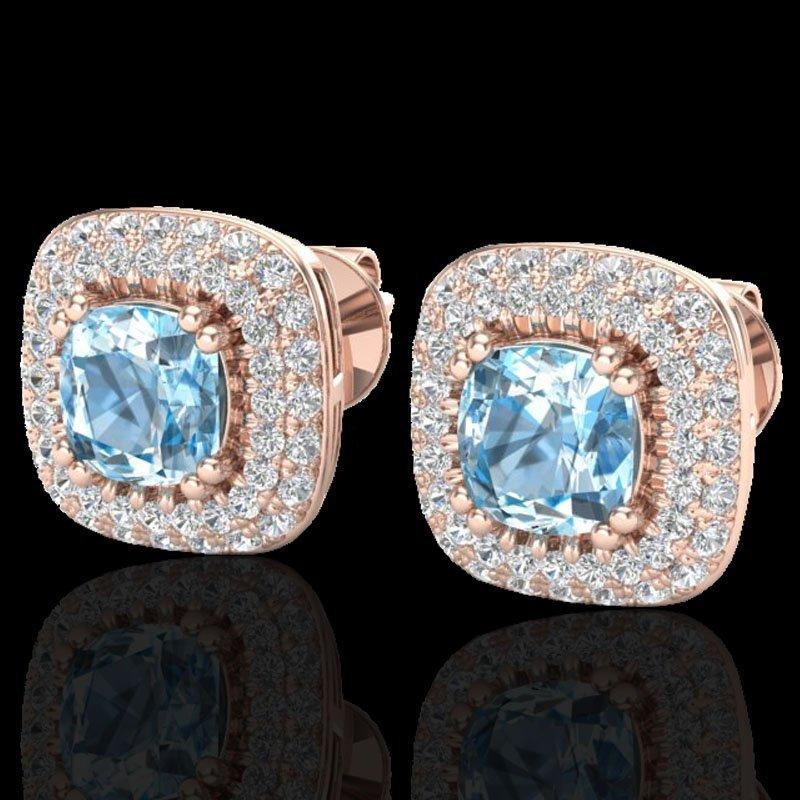 Genuine 2.16 CTW Sky Blue Topaz & Micro Pave Diamond