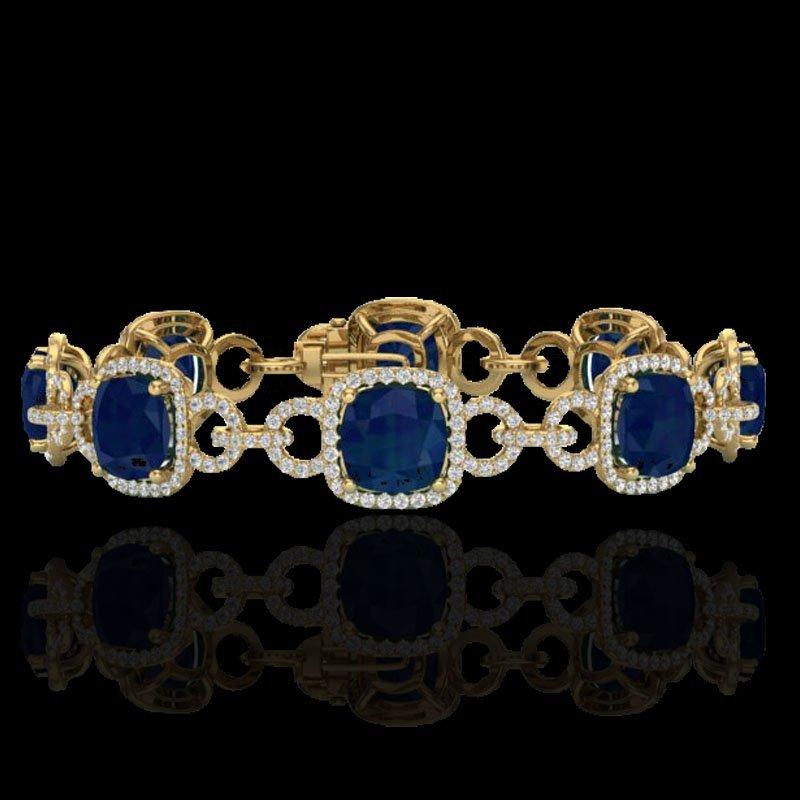 Genuine 25 CTW Sapphire & Micro Pave Diamond Certified