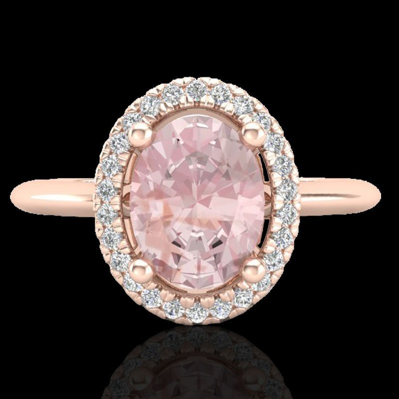Natural 1.50 CTW Morganite & Micro Pave Diamond Bridal