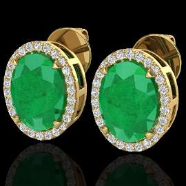 Genuine 5.50 CTW Emerald & Micro Pave Diamond Halo
