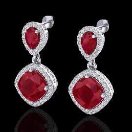 Genuine 7.0 CTW Ruby & Micro Pave Diamond Certified