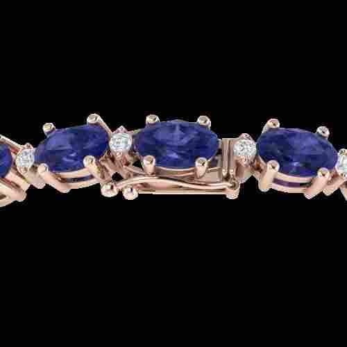 Genuine 26.3 CTW Tanzanite & Diamond Certified Eternity