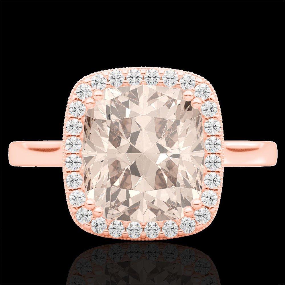 Genuine 3.0 CTW Morganite & Micro Pave Diamond Halo