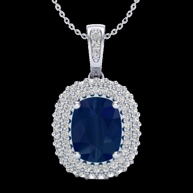 Genuine 3.15 CTW Sapphire & Micro Pave Diamond