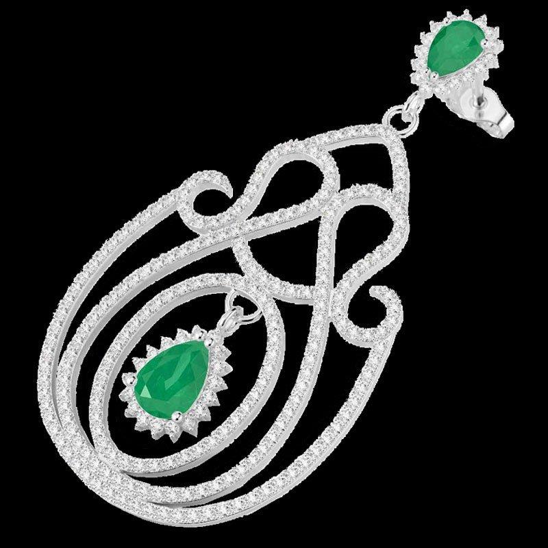 Genuine 6.40 CTW Emerald & Micro Pave Diamond Certified