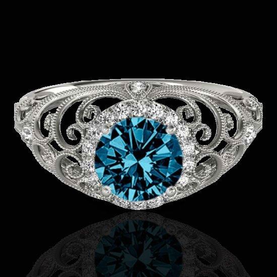 Genuine 1.22 CTW Certified Fancy Blue Genuine Diamond