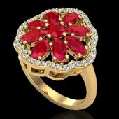 Genuine 4.0 CTW Ruby & Diamond Certified Cluster