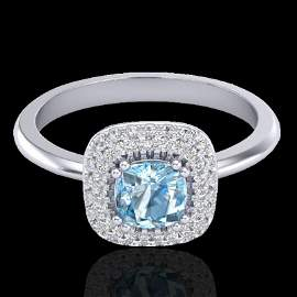 Genuine 1.16 CTW Sky Blue Topaz & Micro Pave Diamond