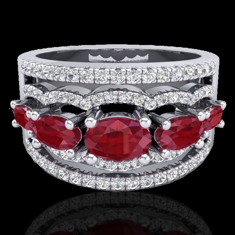 Natural 2.25 CTW Ruby & Micro Pave Diamond Certified