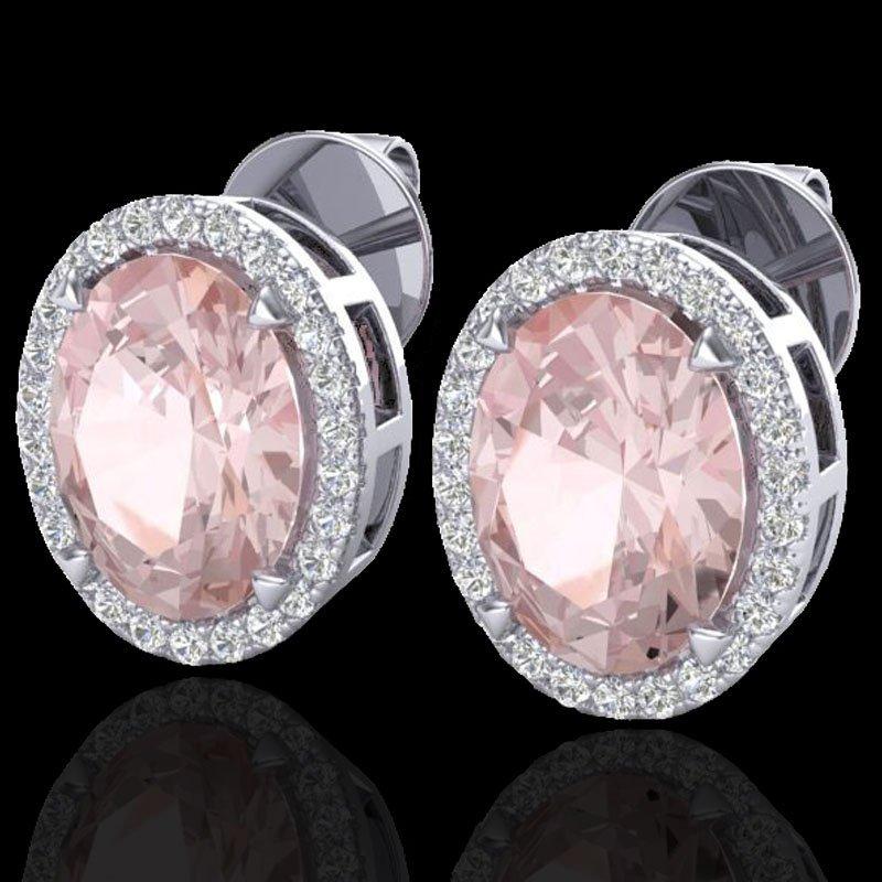 Natural 5.50 CTW Morganite & Micro Pave Diamond Halo