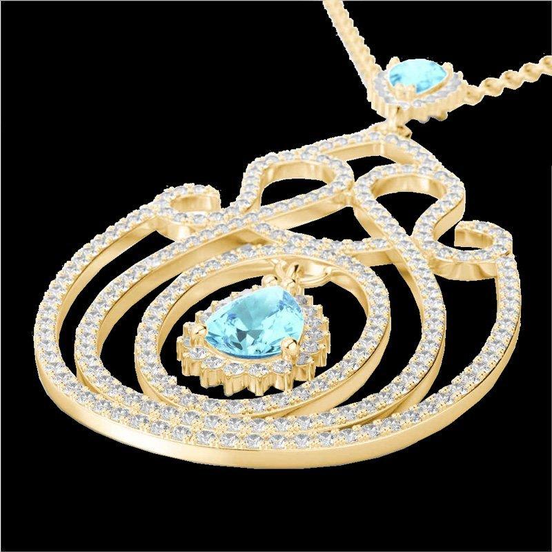 Genuine 3.20 CTW Sky Blue Topaz & Micro Pave Diamond