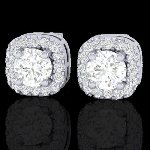 Natural 0.75 CTW Micro Pave Diamond Certified Earrings