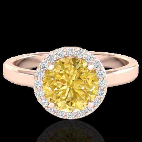 Genuine 2.0 CTW Citrine & Halo Diamond Micro Pave Ring