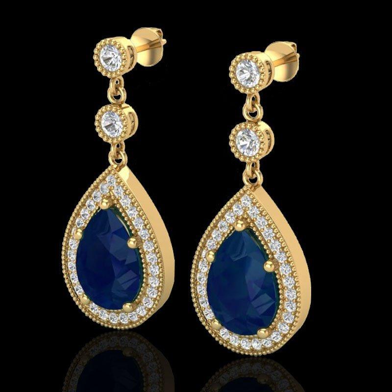 Genuine 6.0 CTW Sapphire & Micro Pave Diamond Certified
