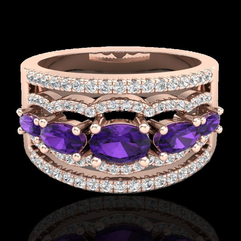 Genuine 2.25 CTW Amethyst & Micro Pave Diamond
