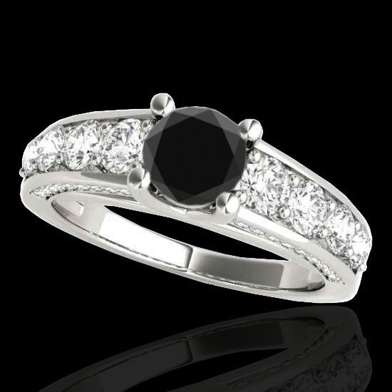 Genuine 2.55 CTW Certified Black Genuine Diamond Bridal
