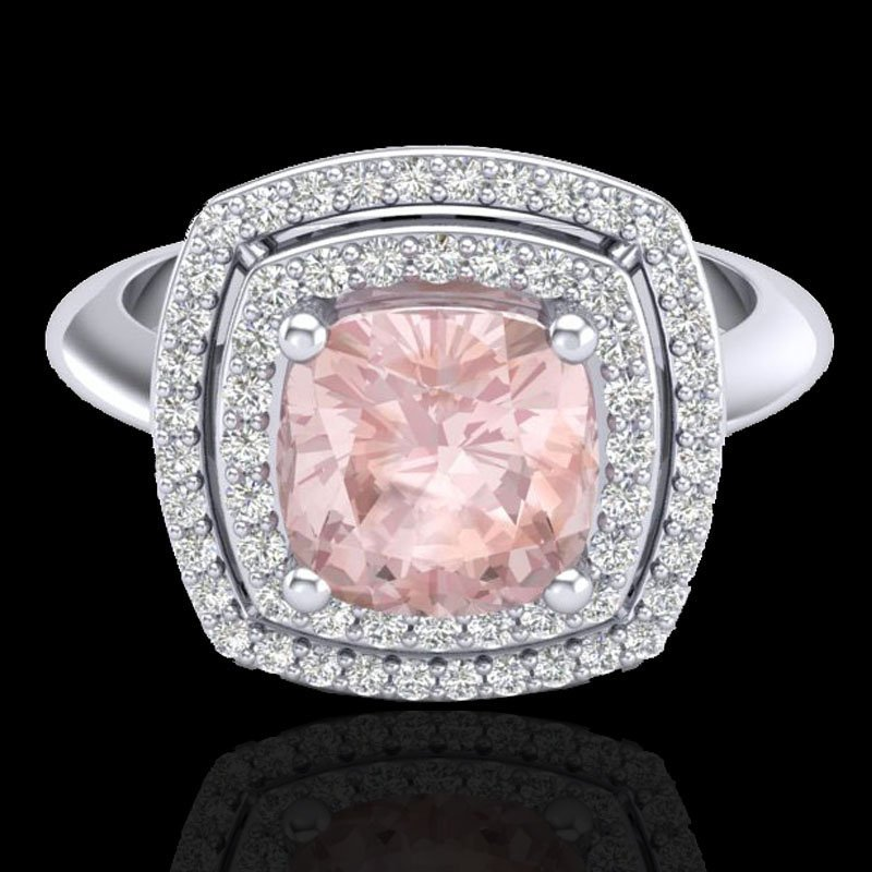 Genuine 1.50 CTW Morganite & Micro Pave Diamond