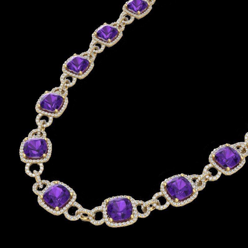 Genuine 66 CTW Amethyst & Micro Pave Diamond Certified