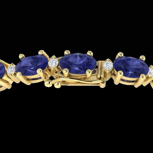 Genuine 26.3 CTW Tanzanite & Diamond Certified Eternity