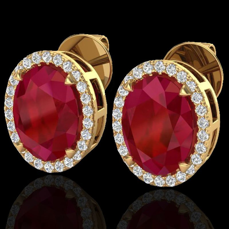Natural 5.50 CTW Ruby & Micro Pave Diamond Halo