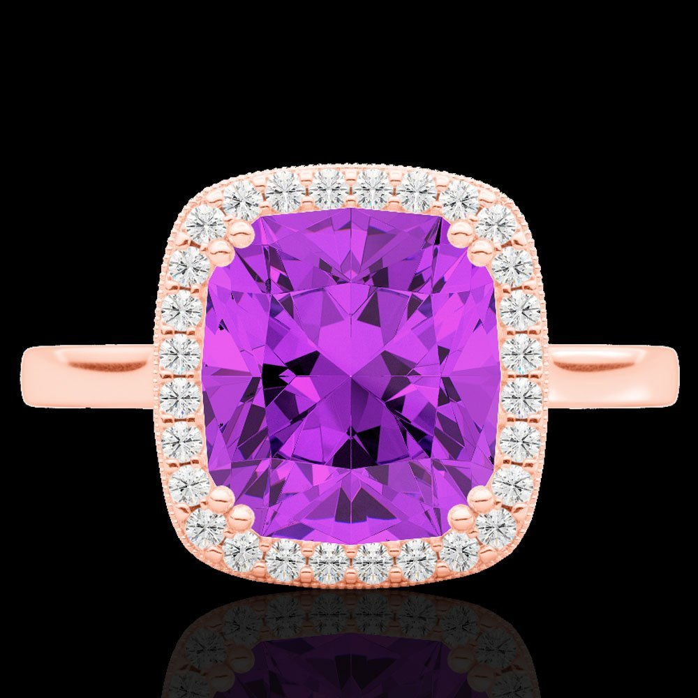 Natural 2.75 CTW Amethyst & Micro Pave Diamond Halo