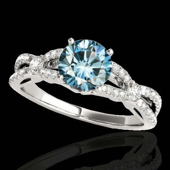 Genuine 1.35 CTW Certified Fancy Blue Genuine Diamond