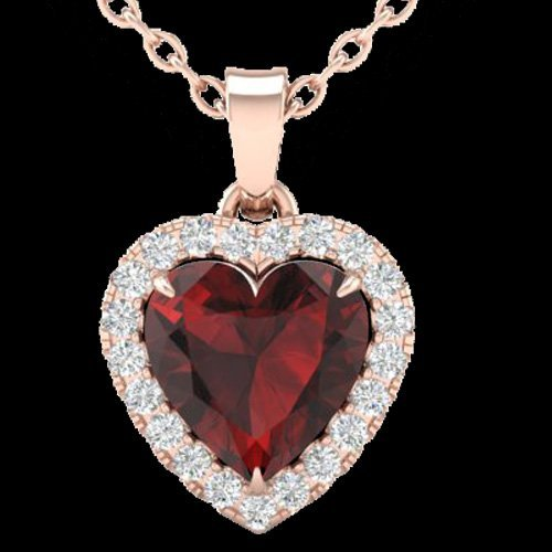 Natural 1.0 CTW Garnet & Micro Pave Diamond Heart