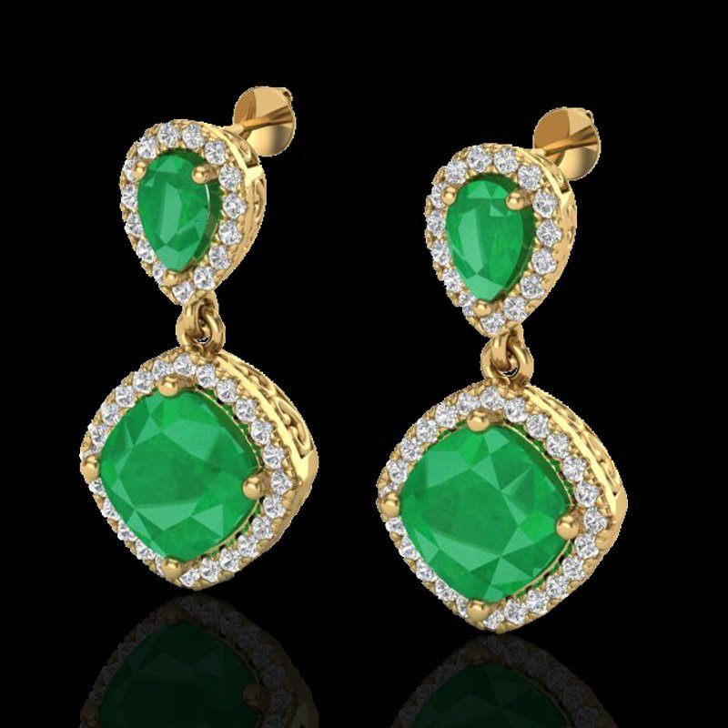 Natural 7.0 CTW Emerald & Micro Pave Diamond Certified