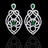 Natural 7.0 CTW Emerald & Micro Pave Diamond Heart