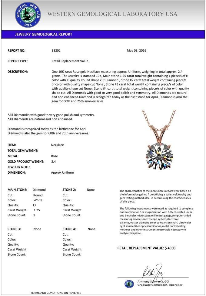 Genuine 1.25 CTW Certified H-I Quality Genuine Diamond - 3