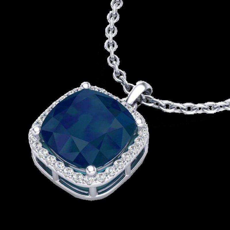 Natural 6.0 CTW Sapphire & Micro Pave Halo Diamond