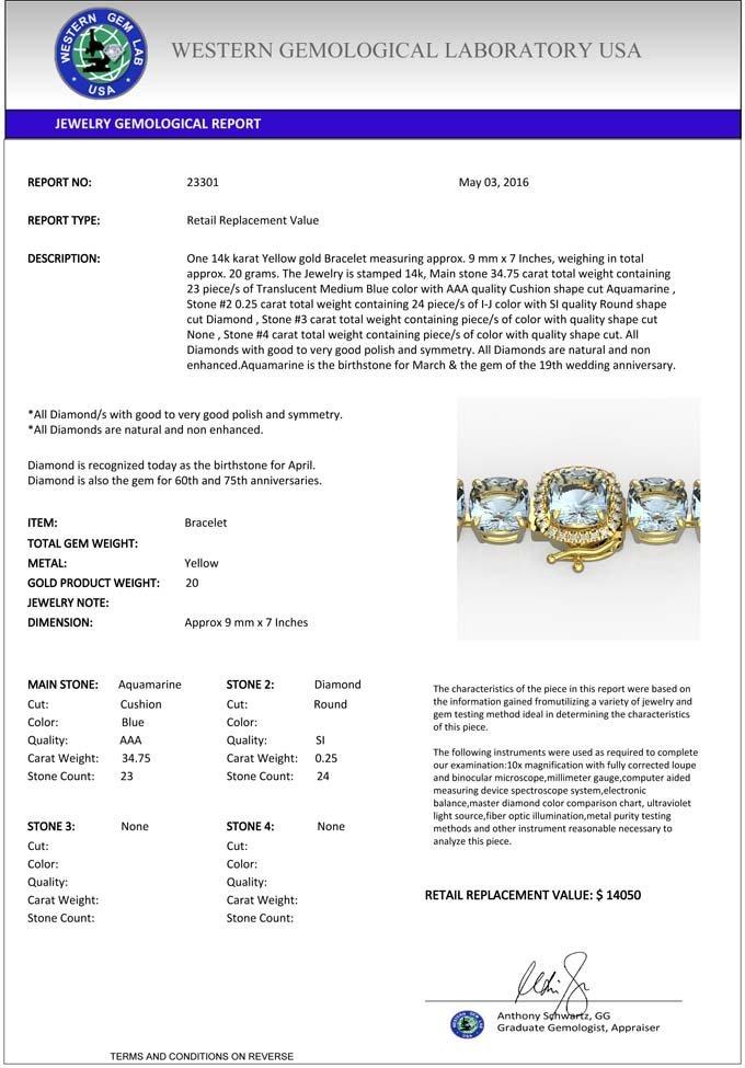 Genuine 35 CTW Aquamarine & Micro Pave Diamond Halo - 3