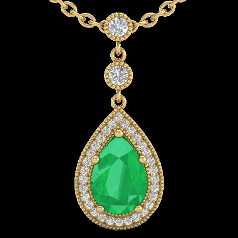 Natural 2.75 CTW Emerald & Micro Pave Diamond Certified - 2