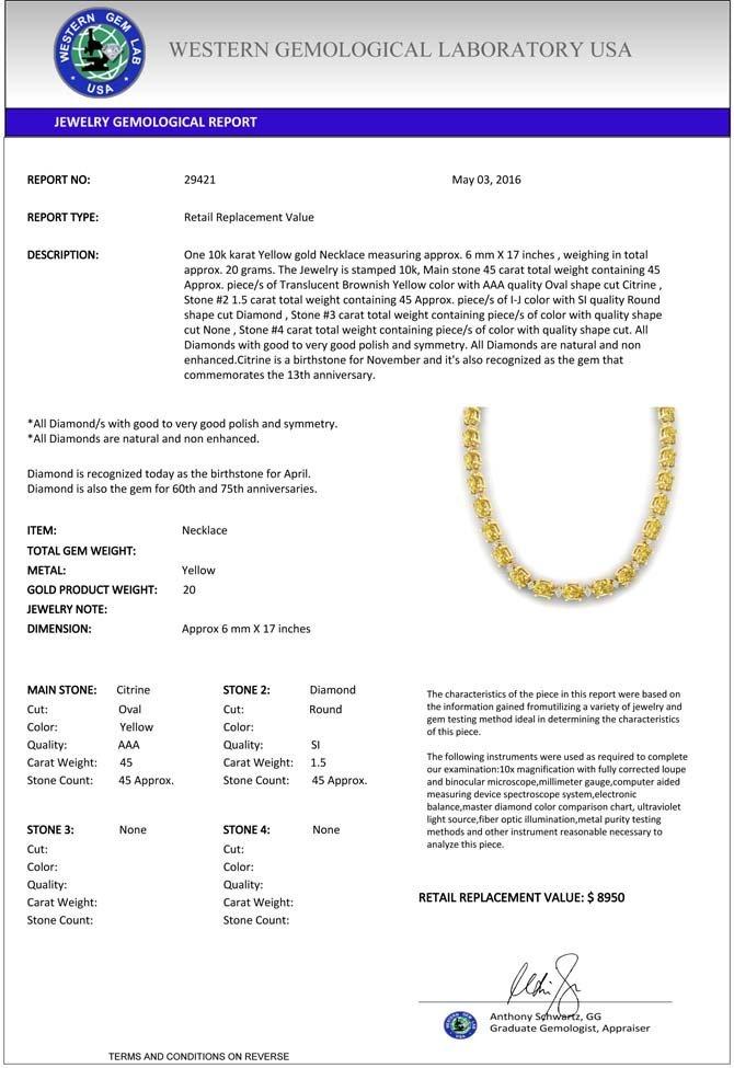 Genuine 46.5 CTW Citrine & Diamond Certified Eternity - 3