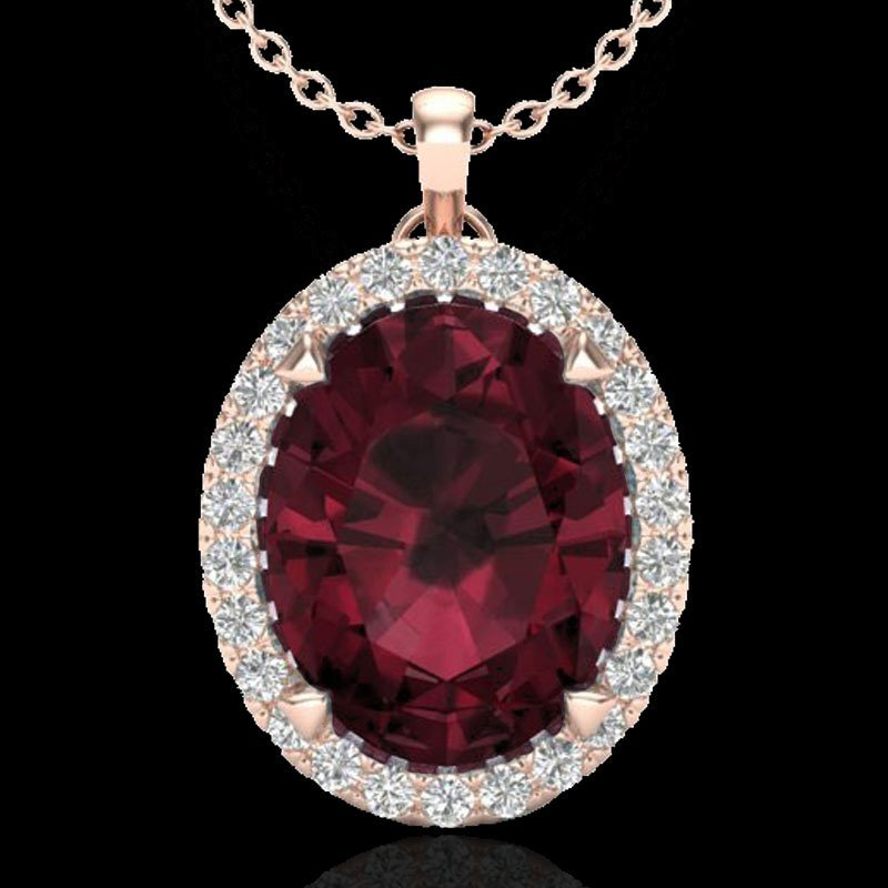 Genuine 2.75 CTW Garnet & Micro Pave Diamond Halo