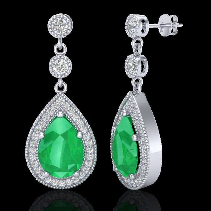 Genuine 6.0 CTW Emerald & Micro Pave Diamond Certified - 2