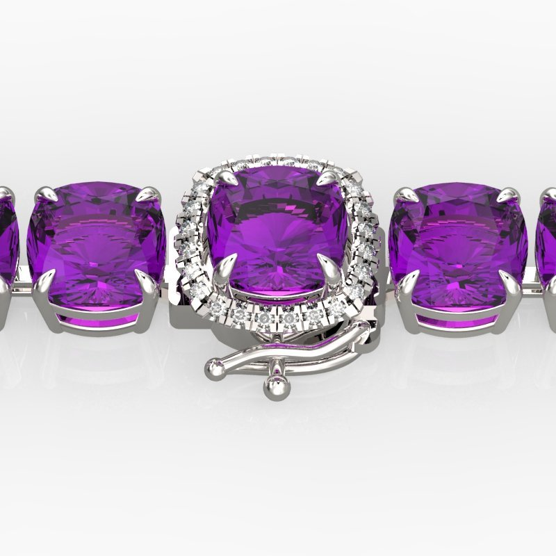 Natural 46 CTW Amethyst & Micro Pave Diamond Halo