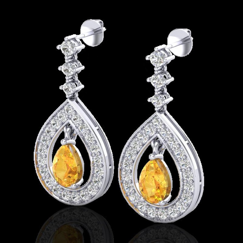 Natural 2.25 CTW Citrine & Micro Pave Diamond Earrings