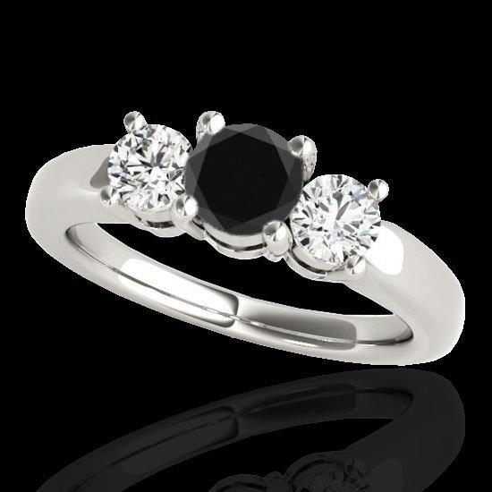 Genuine 2.0 CTW Certified Black Genuine Diamond 3 Stone