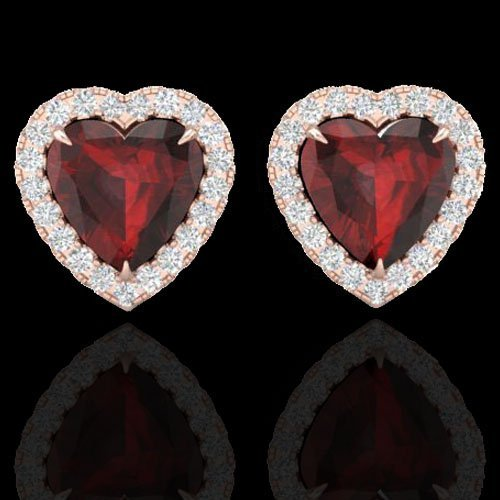 Natural 2.22 CTW Garnet & Micro Pave Diamond Earrings